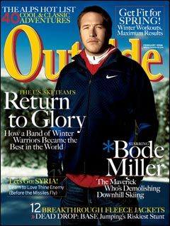 Outside Magazine, February 2006, featuring downhill skier Bode Miller