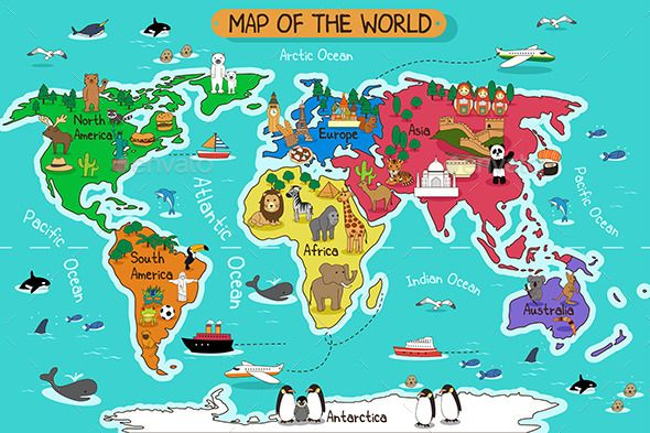 Map of the world pinterest mapas ilustrados mapas y biologa map of the world vector eps cs africa animals antarctica gumiabroncs