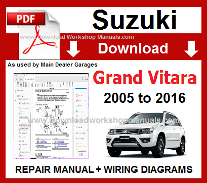 Suzuki Grand Vitara 2005 To 2016 Workshop Repair Manual Download Repair Manuals Grand Vitara Pajero Io