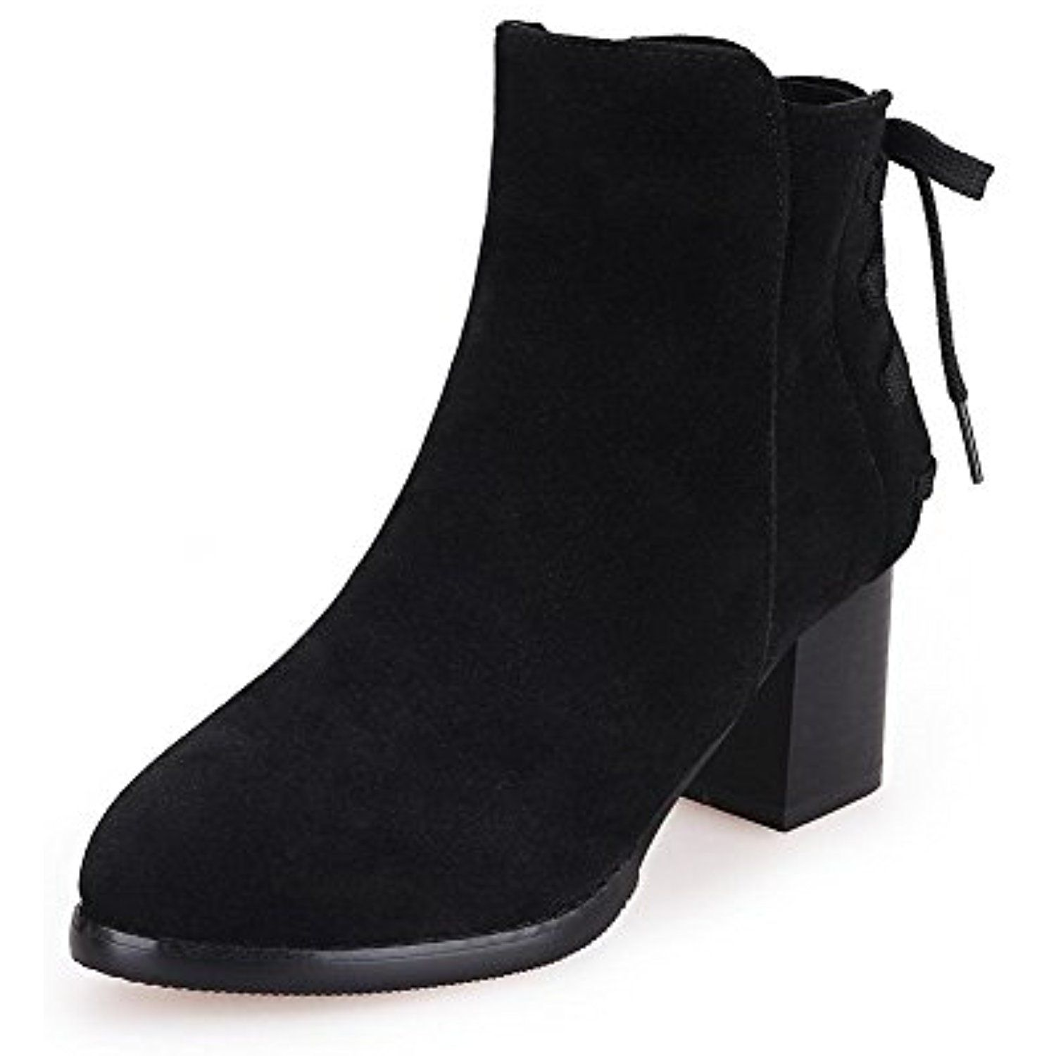 Women's Solid Frosted Kitten Heels Pull On Pointed Closed Toe Boots