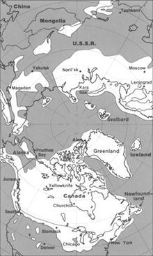 The maximum extent of glacial ice in the north polar area