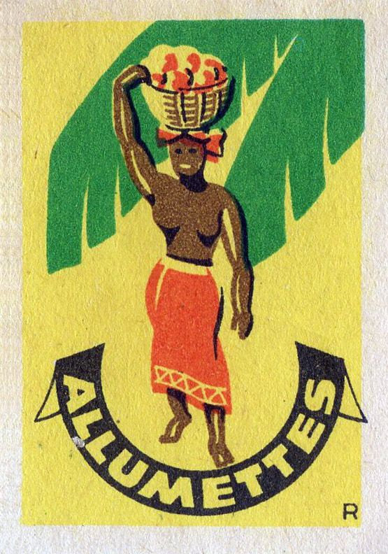 vintage #matchbox label #africanwoman To design & order your business' own custom printed #matches GoTo: GetMatches.com or Call 800.605.7331 Today!