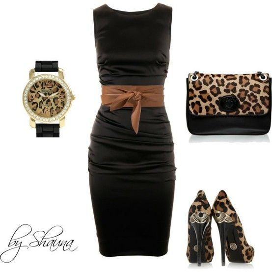 Dolce and Gabbana dress with leopard accessories