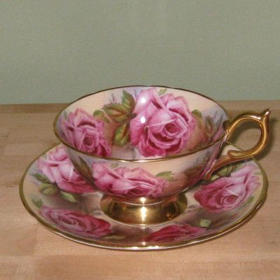 Antique AYNSLEY China Tea Cup & Saucer Set Pink Roses w/ Gold Trim