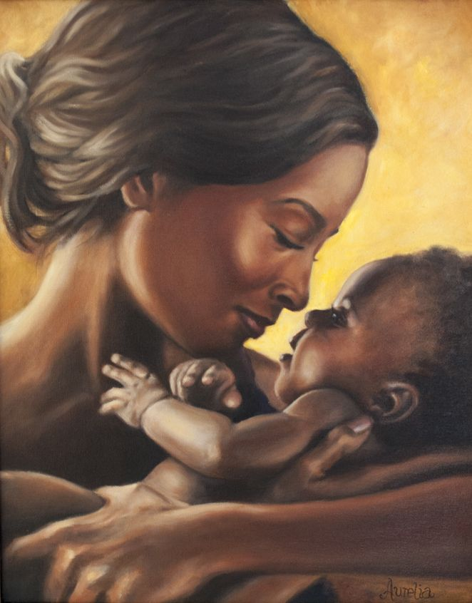 No framed oil painting My Sweetheart portraits mother with young daughter canvas
