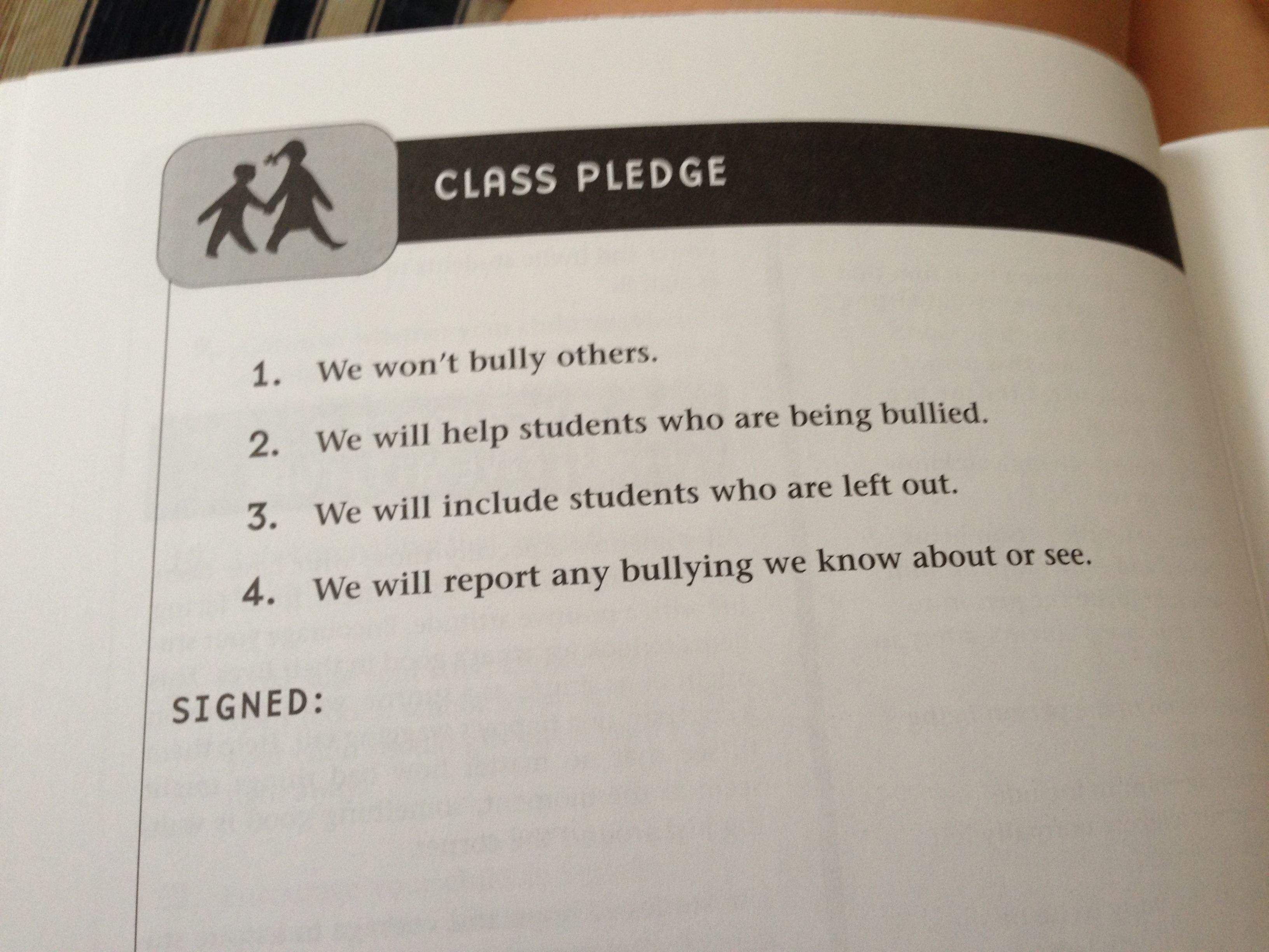 Class Pledge To Stop Bullying