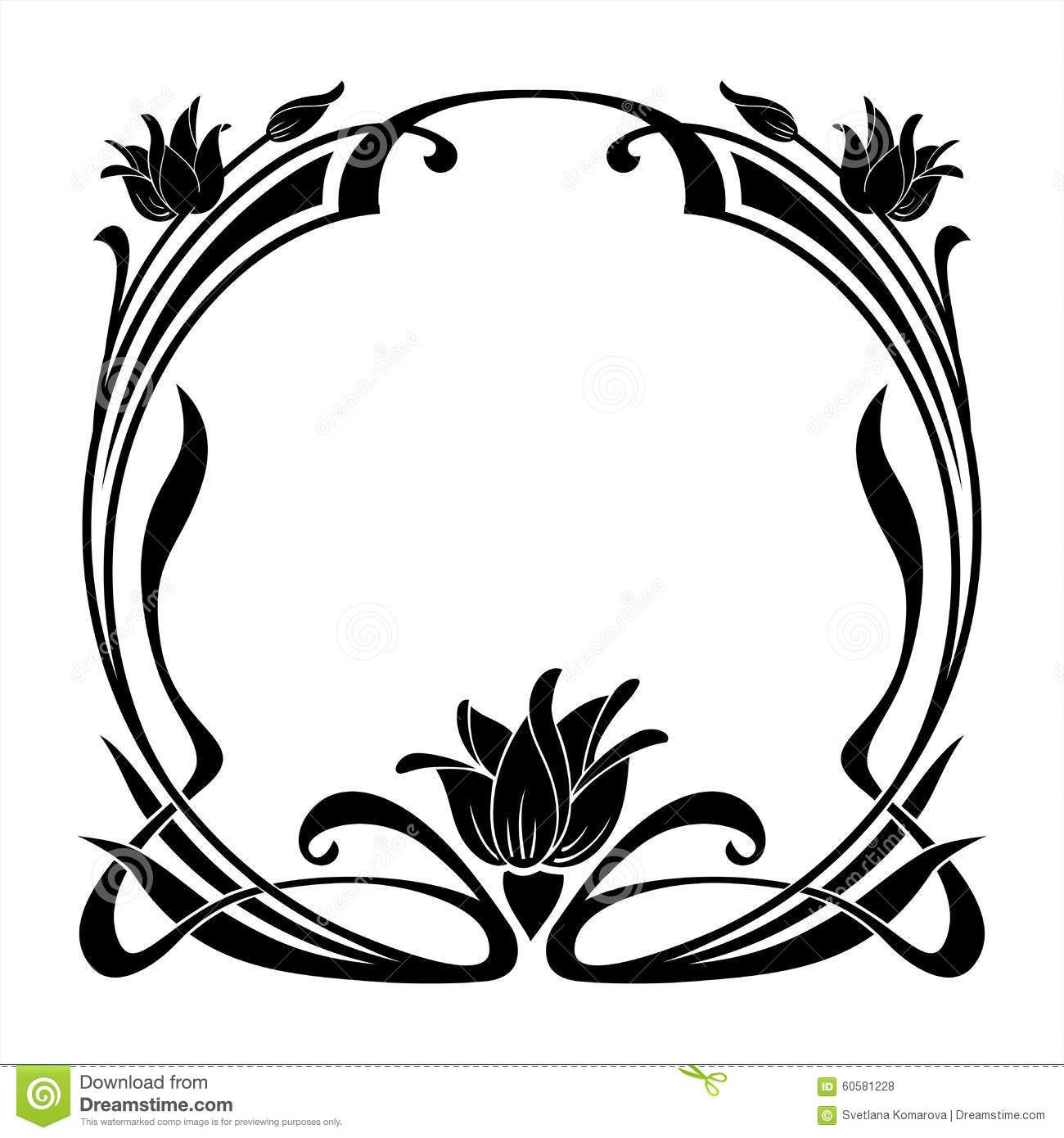 Round frame with decorative branch vector illustration stock - Round Decorative Floral Frame In The Art Nouveau Style Stock