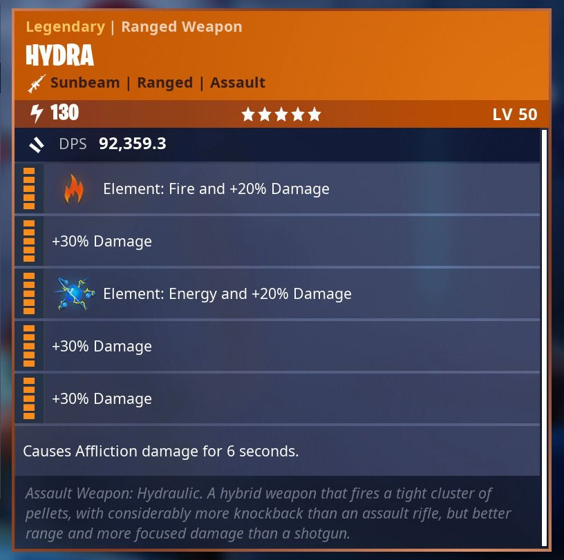fortnite save the world 130 modded hydra 2 elements fire fortnite - fortnite stw modded weapons