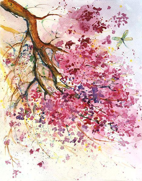 Aquarell Kirschblute Original Malerei Kirschbluten Ein