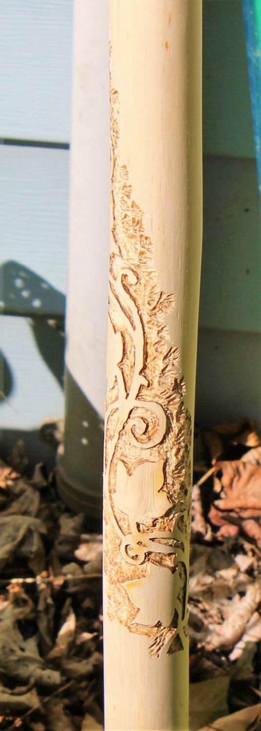 Hand carved hiking stick with spiraling vine & leaves by StoneSoupTreasures on Etsy