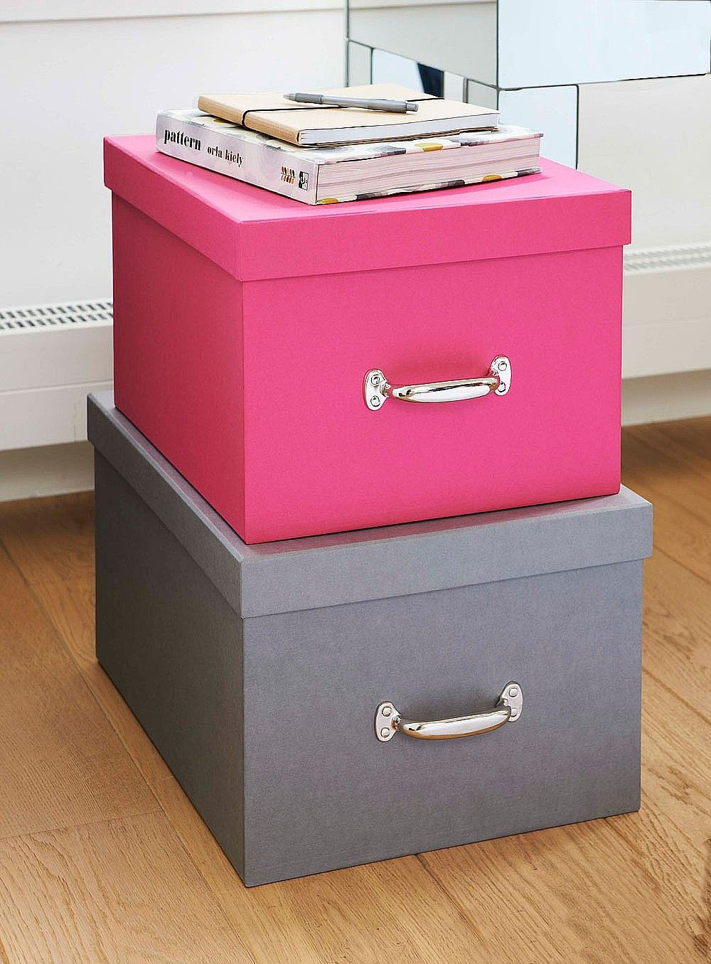 Get your storage sorted with these large volume Fibreboard Storage Boxes  perfect for the bedroom, office or living room. From Bigso Box Of Sweden.