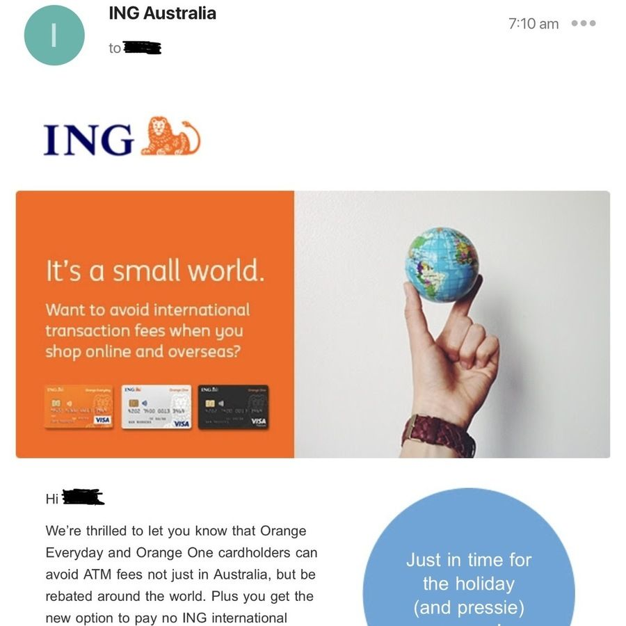 No International Fees Fee Free Atm Withdrawals Worldwide For Ing Orange Everyday And One