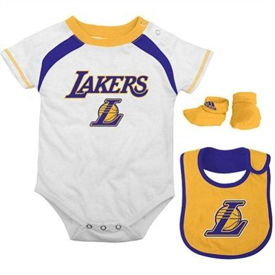 Adidas Los Angeles Lakers Newborn 3 Piece Creeper Bib And Bootie Set Adidas Los Angeles Lakers Kids Gear