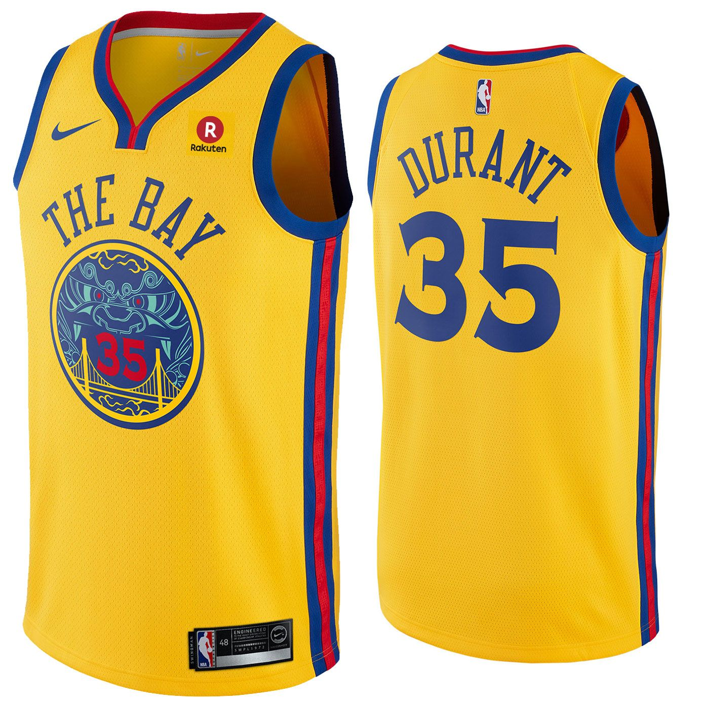 Golden State Warriors Nike Dri-FIT Men s Chinese Heritage Kevin Durant  35  Swingman City Edition Jersey - Gold db051e696