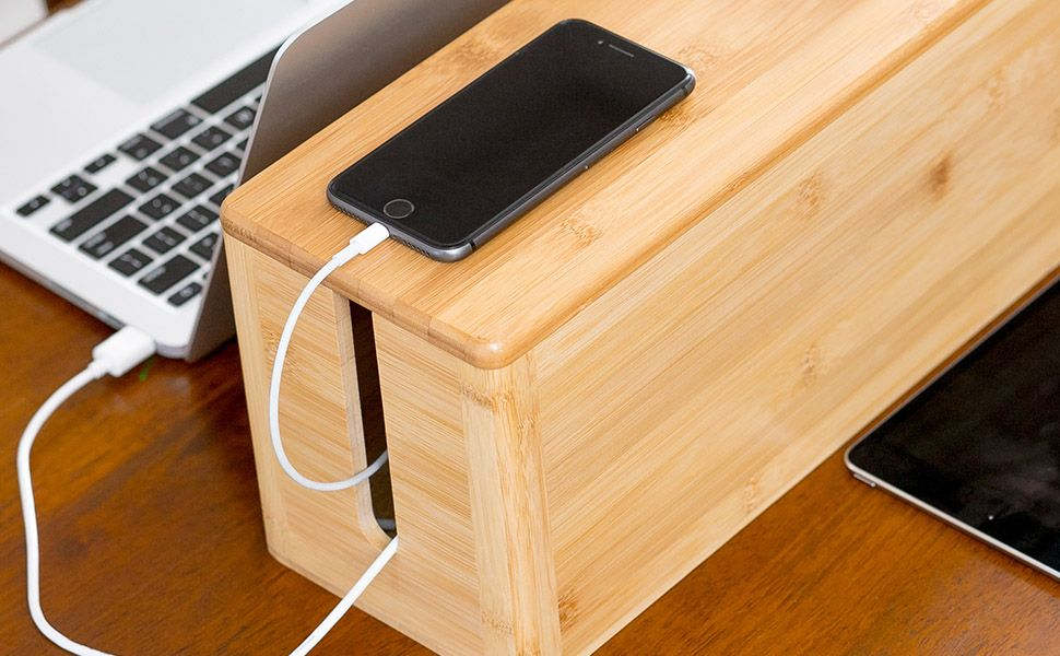 Cablerack Bamboo Large Cable Management Box For Amazing Desk Cable