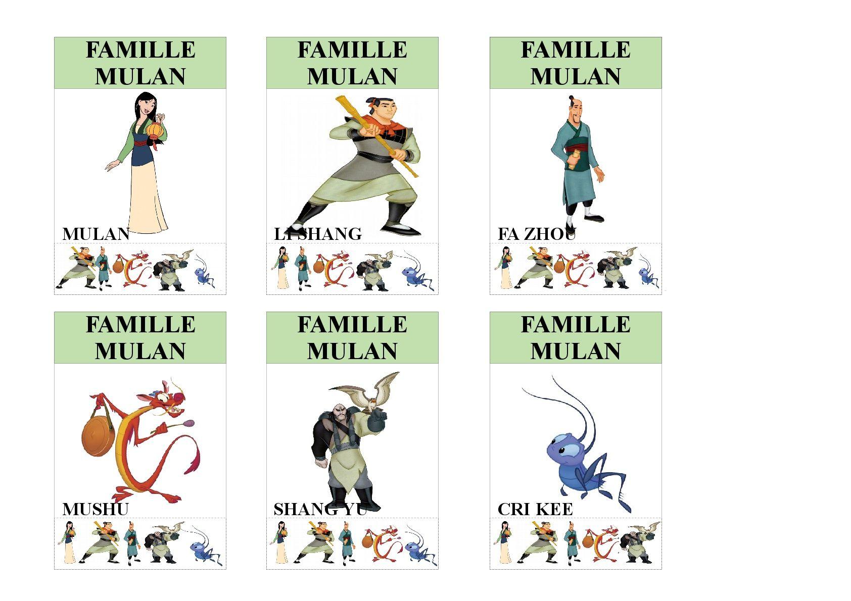 Famille Mulan Jeu Des 7 Familles Utilisable Pour Les Plus Jeunes Vu Que Tous Les Membres Des Familles Sont Ind Jeux Des 7 Familles Famille Disney Jeu De Cartes