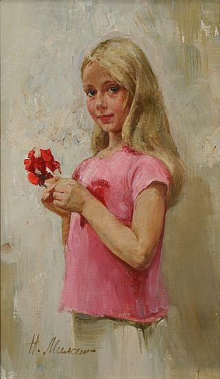 Girl With Flower -Natasha Milashevich (1967, Russian)