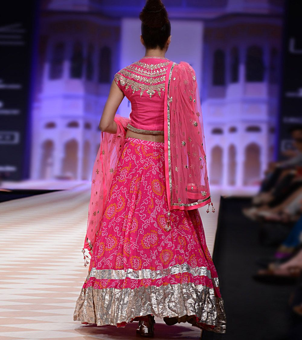 Wedding Lancha Images: Pink Jaipur Bandhini Lehenga Set