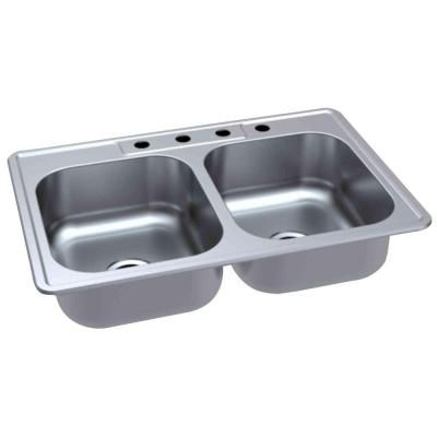 Glacier Bay DropIn Stainless Steel 33 in. 4Hole Double