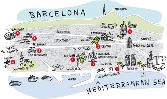 map of barcelona and surrounding area Google Search – Barcelona City Map Tourist