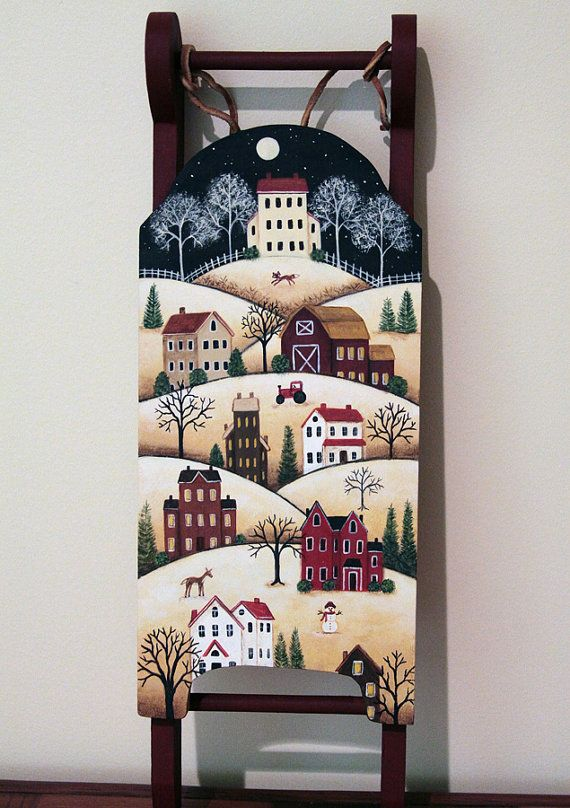 Hand Painted Folk Art Sled Saltbox Village by RavensBendFolkArt I WANT TO DO THIS ON MY OLD WOODEN IRONING BOARD