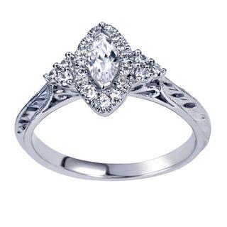 14k White Gold 1/2ct TDW Marquise Diamond Ring (H-I, I1-I2)