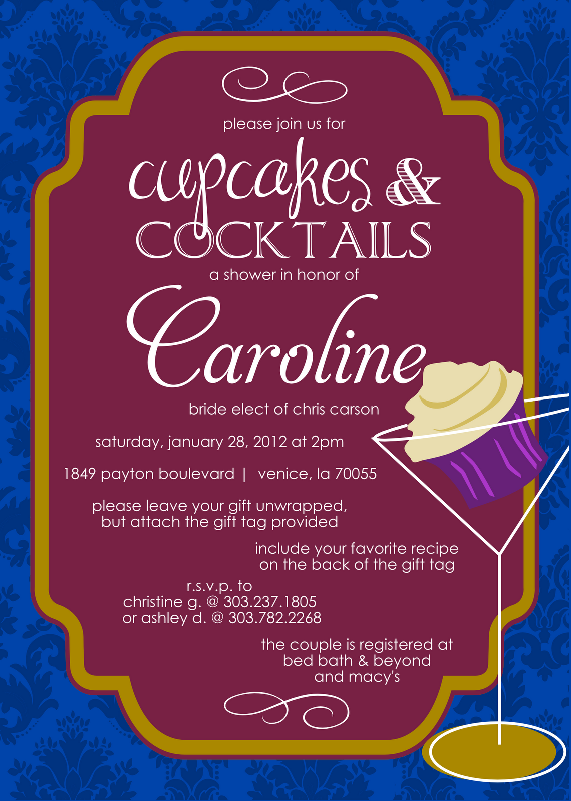 cupcakes and cocktails themed bridal shower invitation