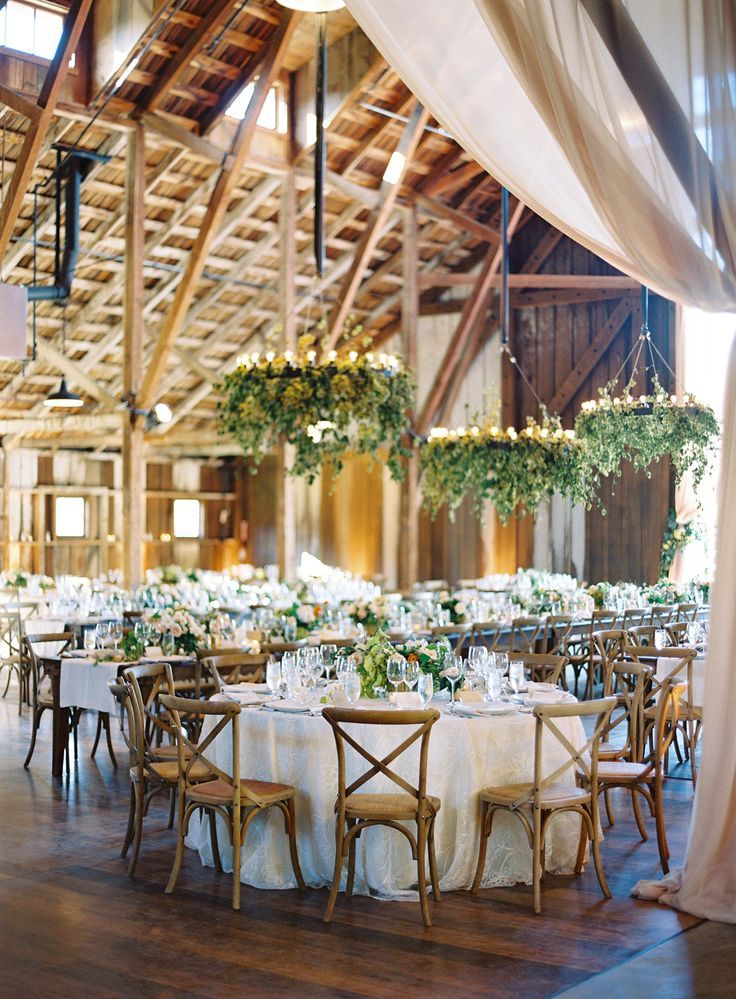 Elegant Barn Wedding Reception Mixed Round Long Farm Tables Stunning Fl
