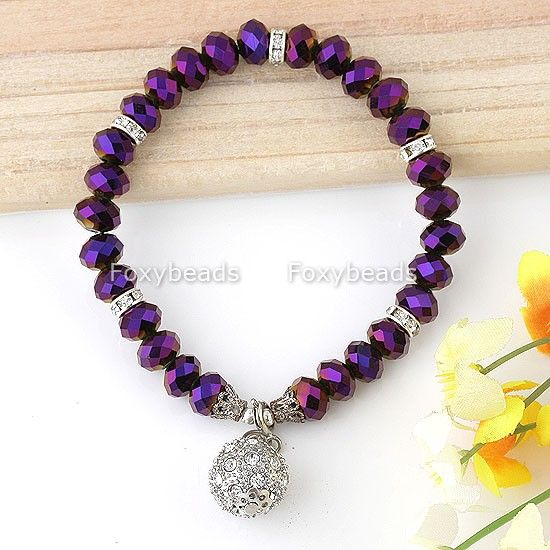 Purple-Faceted-Crystal-Dangle-Ball-Stretchy-Bracelet