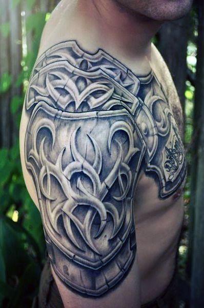 Tatuaże Męskie Zbroja Na Ramie Tattoos Pinterest Tattoos