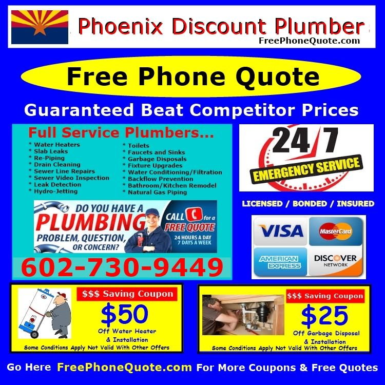 Phoenix Plumber Plumbing Free Repair Quote Estimates Call