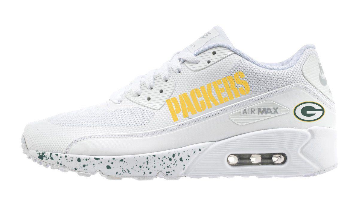 huge discount f3dfe 89a49 Green Bay Packers Print Custom Nike White Air Max Shoes ...