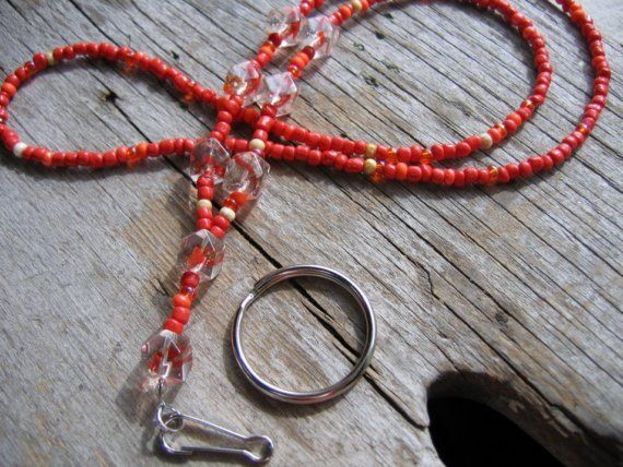 Red Orange Beaded Lanyard for ID Badges by FindingCharm on Etsy, $20.00
