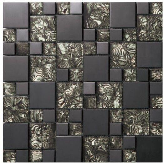 vetro in cristallo nero specchio mosaici del metallo piastrelle in ...