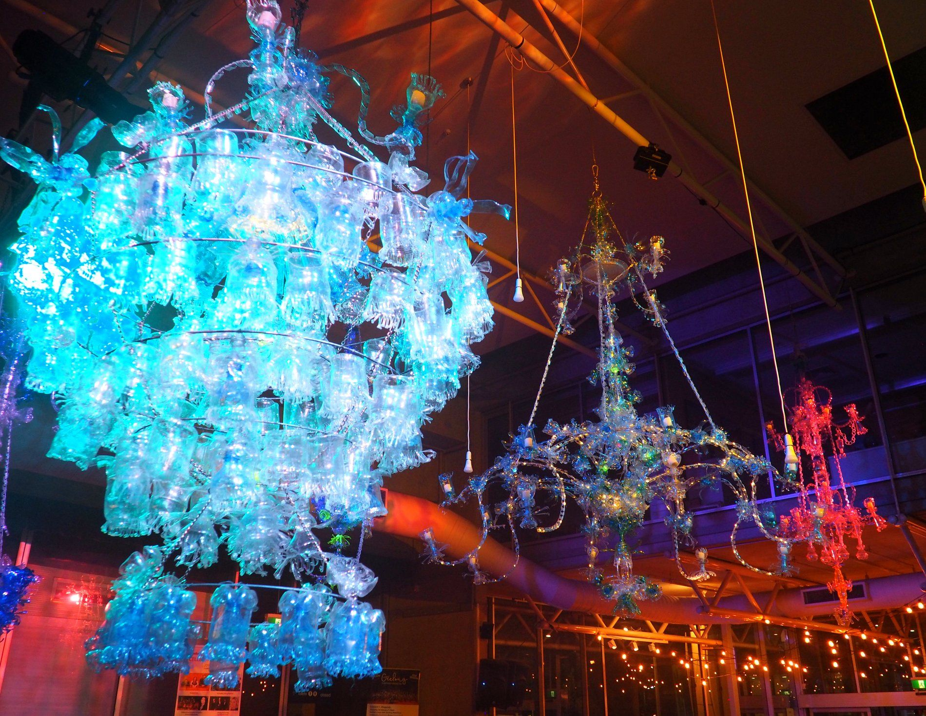 Chandeliers By Debra Goldsmith Made From Plastic Bottles