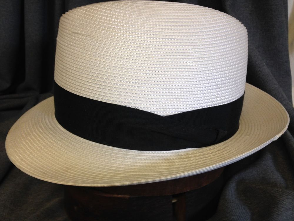 6ef4c2bd16d8c Dobbs Mens White Summer Straw Fedora Hat with 2