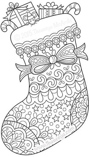 Color Christmas Stocking Coloring Page by Thaneeya cajas para