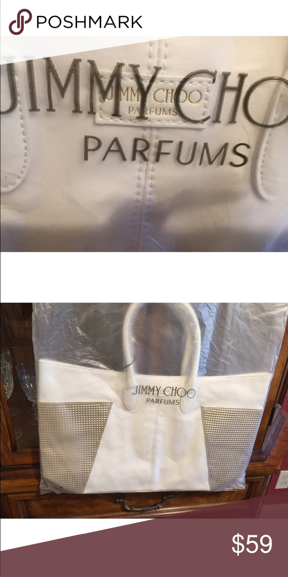 0db22f7237 jimmy choo perfume tote bag Jimmy Choo tote bag White and tan with magnetic  closures Jimmy Choo Bags Totes