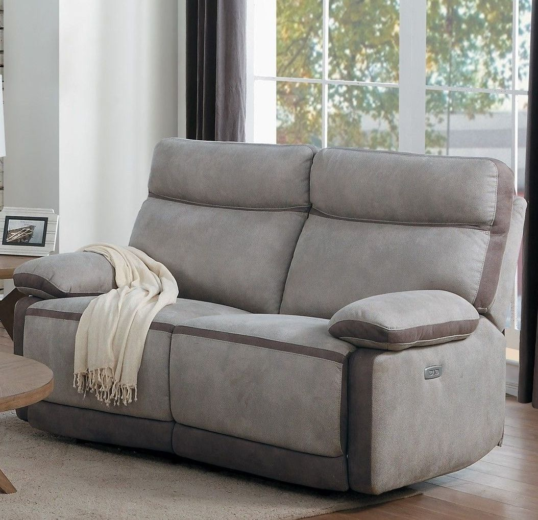 Barilotto Gray Power Double Reclining Loveseat with Power
