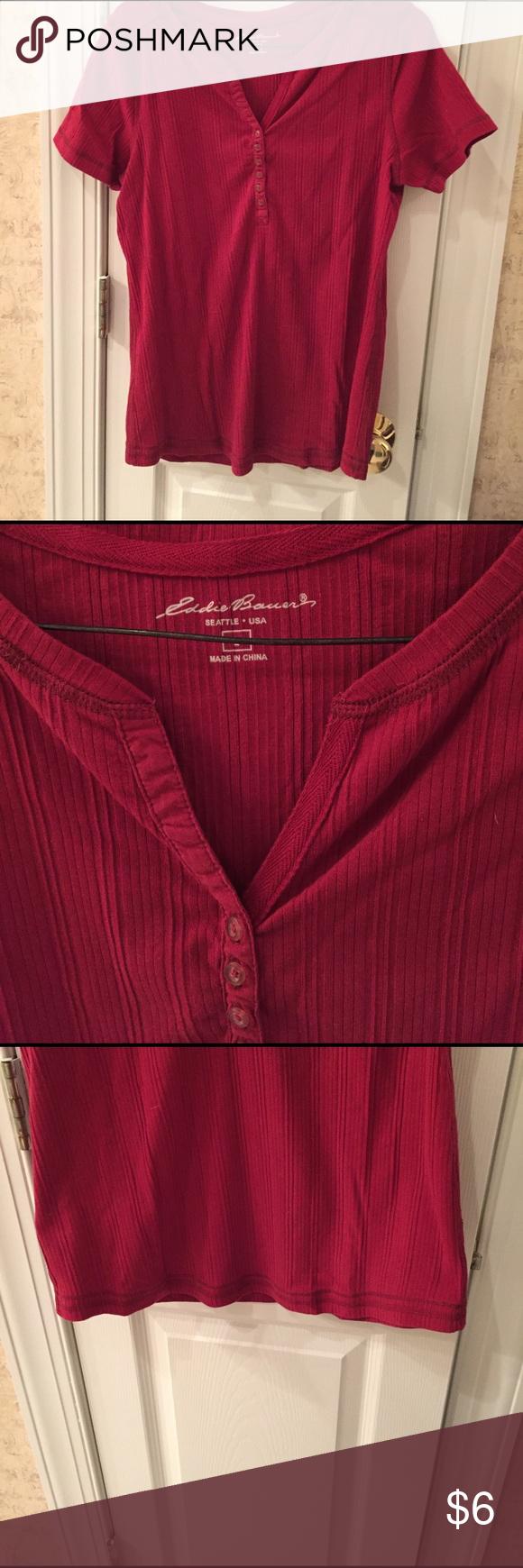 Eddie Bauer short sleeved Henley Red Eddie Bauer short sleeved Henley Eddie Bauer Tops