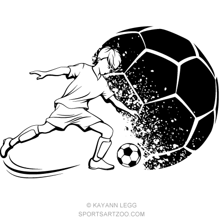 Soccer Boy Kicking With Grunge Soccer Ball Background Sportsartzoo Soccer Boys Soccer Ball Football Drawing
