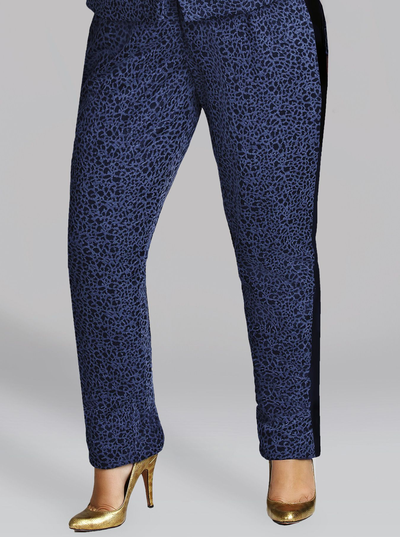 "813c1768711 ""Vanessa"" Tuxedo Stripe Leopard Pant. """