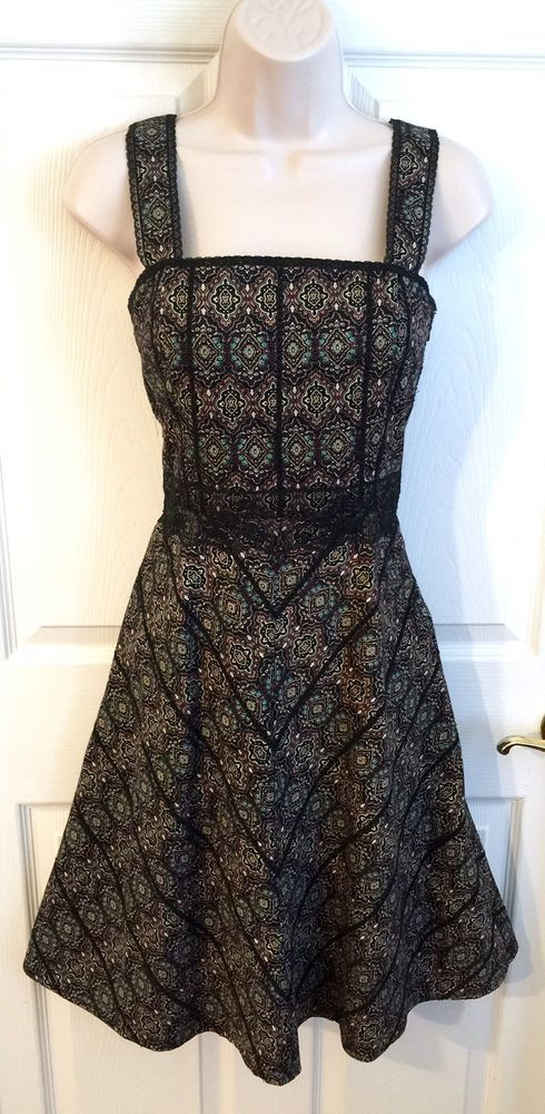 8ca1233cc3b Beth Bowley Dress Size 2 Fit Flare Sleeveless Black Boho Print Cotton  Sundress  BethBowley  Casual  Casual