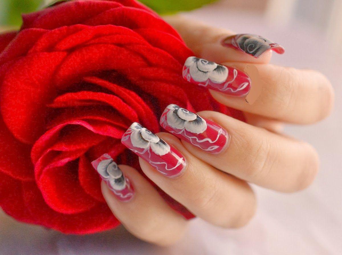 Red Rose Nail Art | Nails Side | Pinterest | Rose nails, Rose nail ...