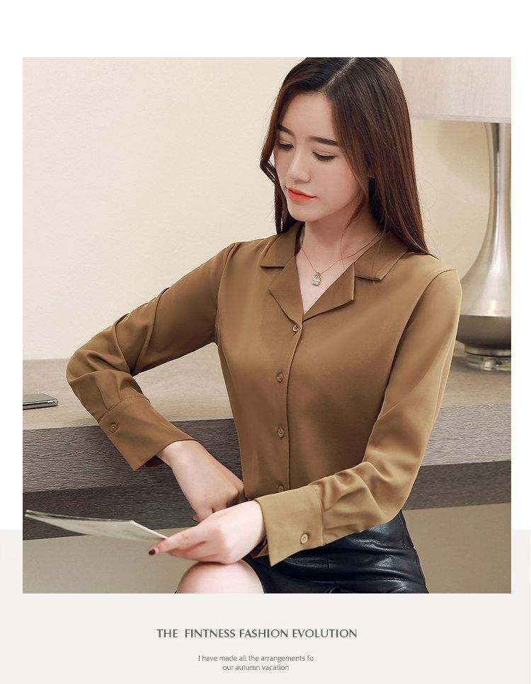 90b489607c8 Dingaozlz New Korean fashion clothing blusa feminina Professional Chiffon  blouse shirt Long Sleeve Women Tops OL White shirt-in Blouses   Shirts from  ...