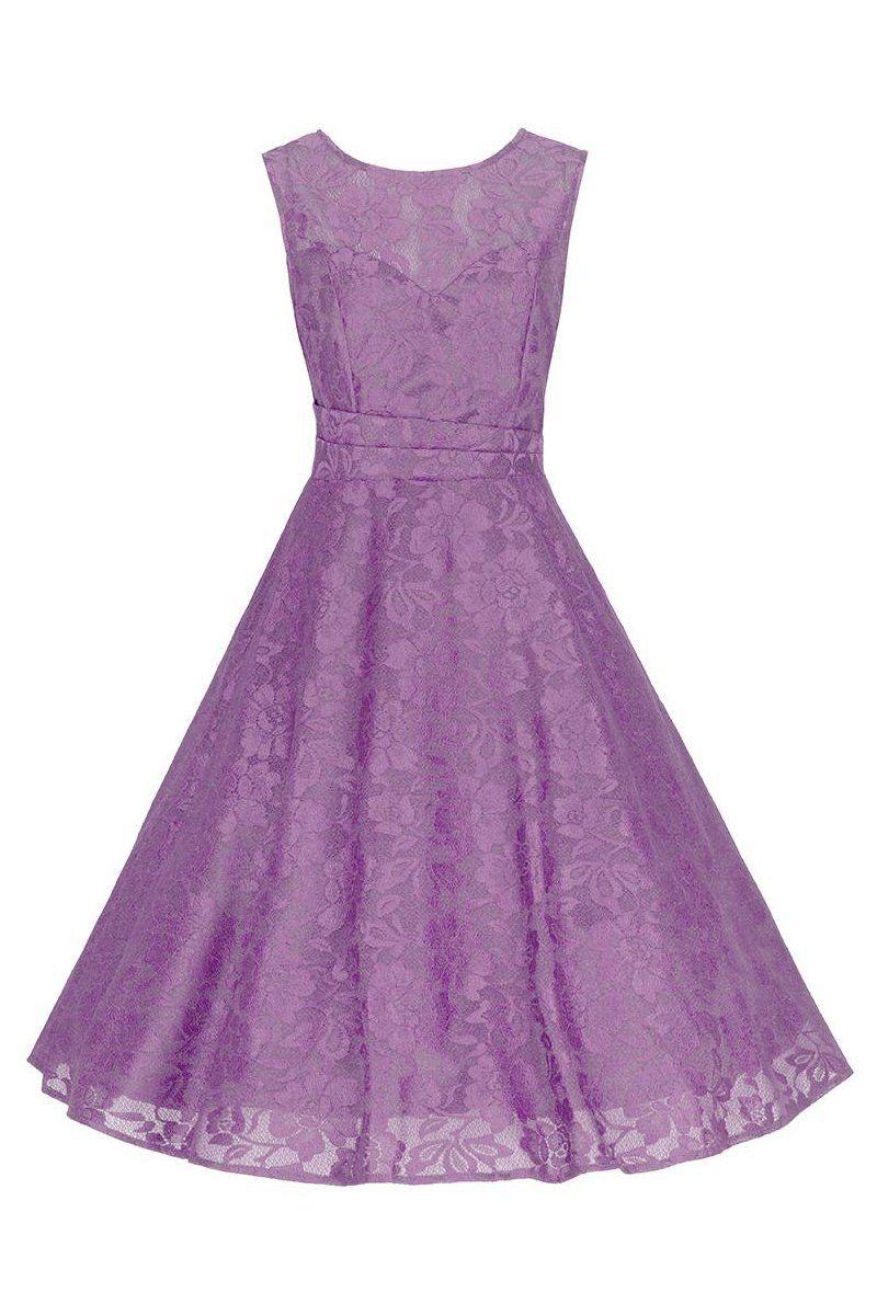 Lace dress 50s  Mauve Purple Bonded Lace Sleeveless Audrey s Swing Dress  Mauve
