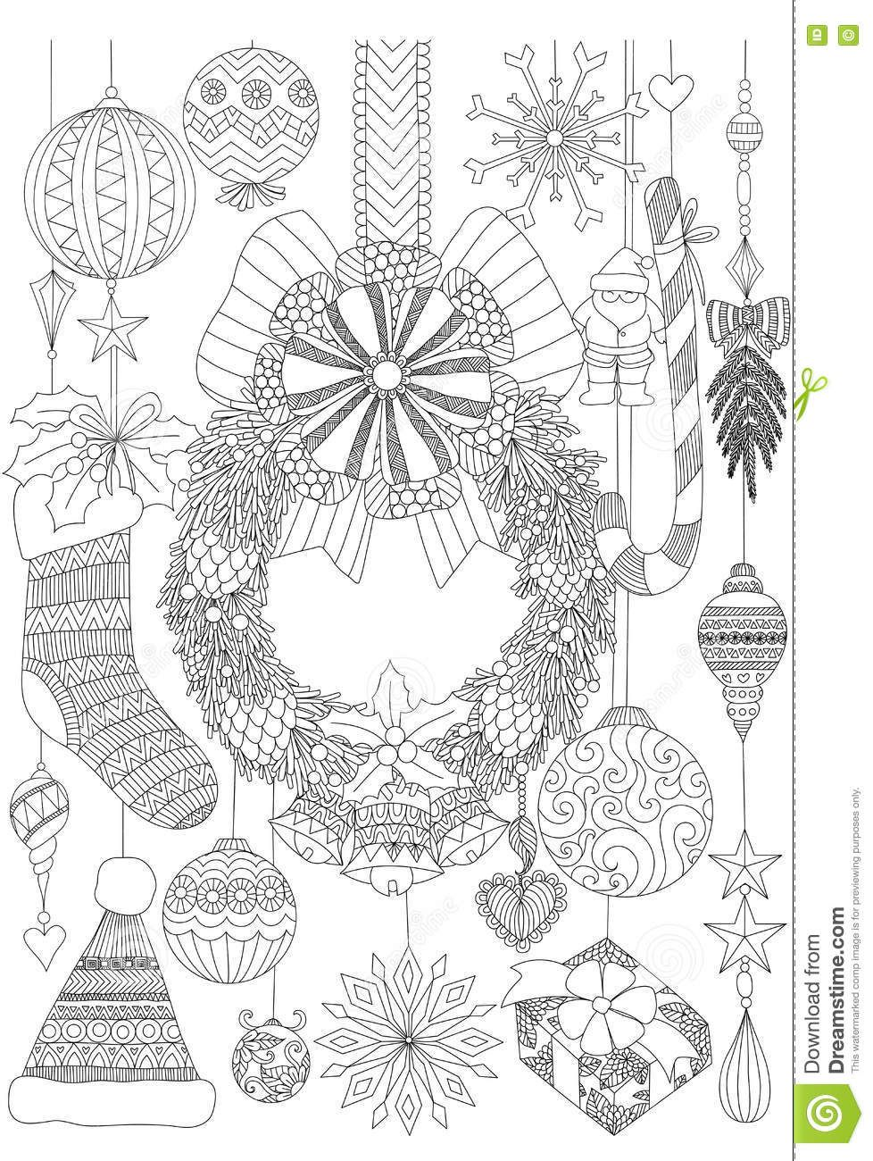 Doodles About Christmas Decorative Stuffs For Adult Coloring Book Pages And Card Invitation Stock Vector