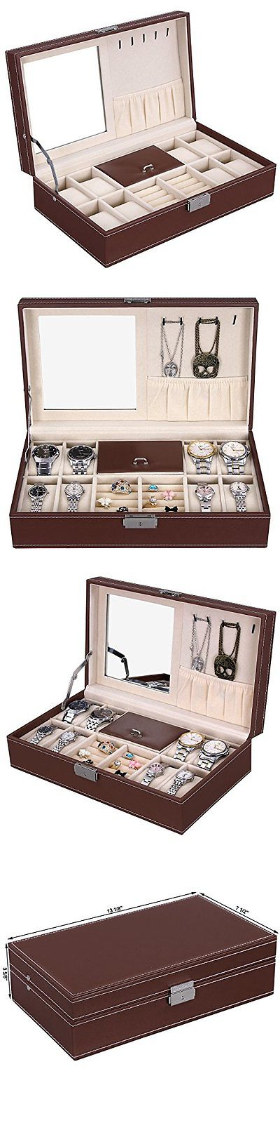 Jewelry Boxes 3820 New Brown Leather Mens Unisex Jewelry Box 8