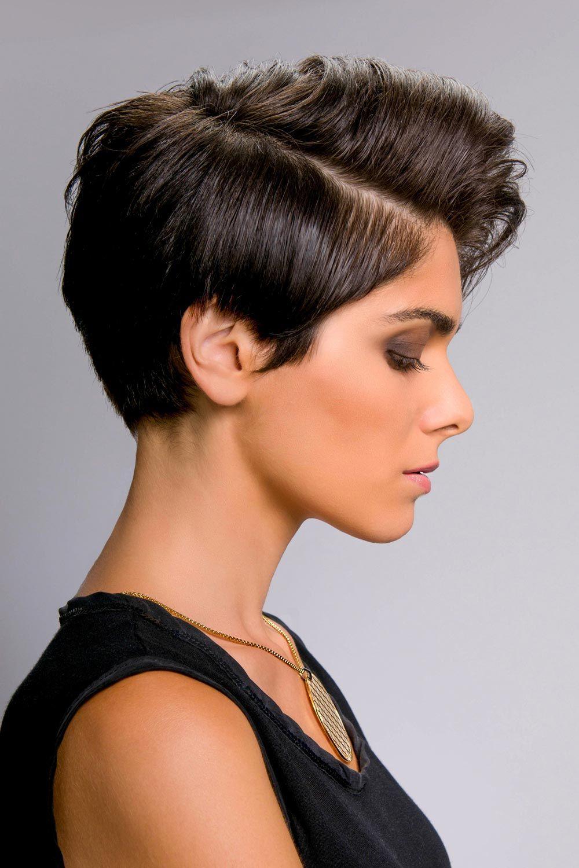 Stylische Kurzhaarfrisur Mit Seitenscheitel Schicke Kurzhaarfrisuren Fur Damen Kurzhaarfrisuren Haarschnitt Kurz Schone Schwarze Haare
