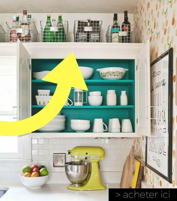 paniers de rangement au dessus meuble de cuisine